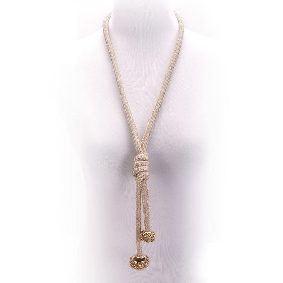 LONG GOLD NECKLACE BALL CLEAR STONES ( 10649 G )