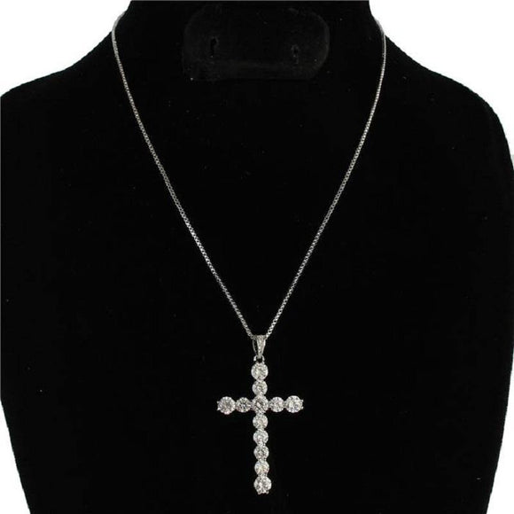 Silver Cubic Zirconia Cross Charm Necklace ( 0018 )