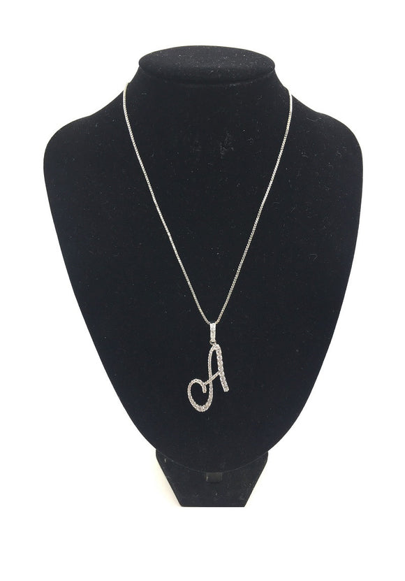 SILVER NECKLACE WITH CURSIVE A PENDANT WITH CLEAR CUBIC ZIRCONIA ( 0025 )