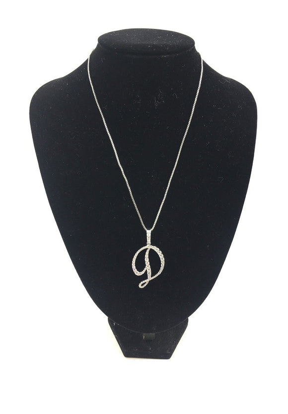 SILVER NECKLACE WITH CURSIVE D PENDANT WITH CLEAR CUBIC ZIRCONIA ( 0025 3C )