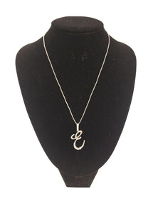 SILVER NECKLACE WITH CURSIVE E PENDANT WITH CLEAR CUBIC ZIRCONIA ( 0025 )
