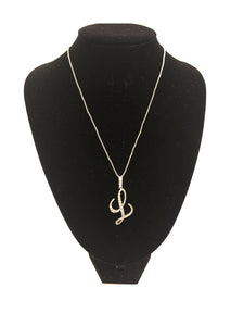 SILVER NECKLACE WITH CURSIVE L PENDANT WITH CLEAR CUBIC ZIRCONIA ( 0025 )