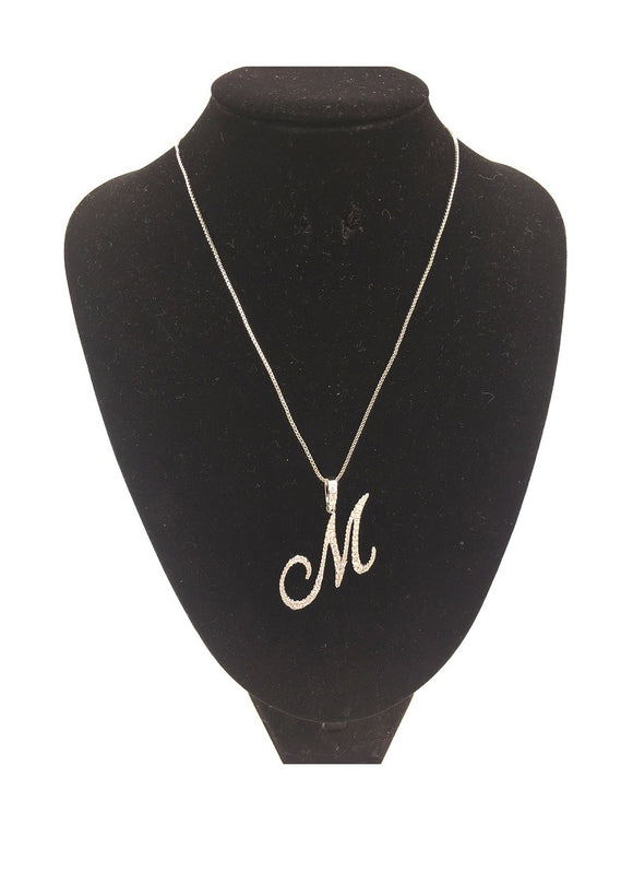 SILVER NECKLACE WITH CURSIVE M PENDANT WITH CLEAR CUBIC ZIRCONIA ( 0025 )
