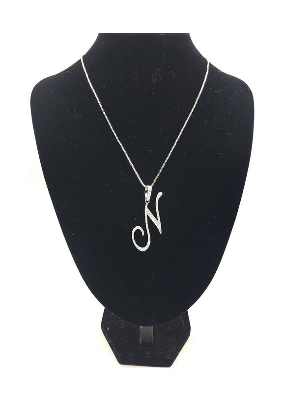 SILVER NECKLACE WITH CURSIVE N PENDANT WITH CLEAR CUBIC ZIRCONIA ( 0025 )
