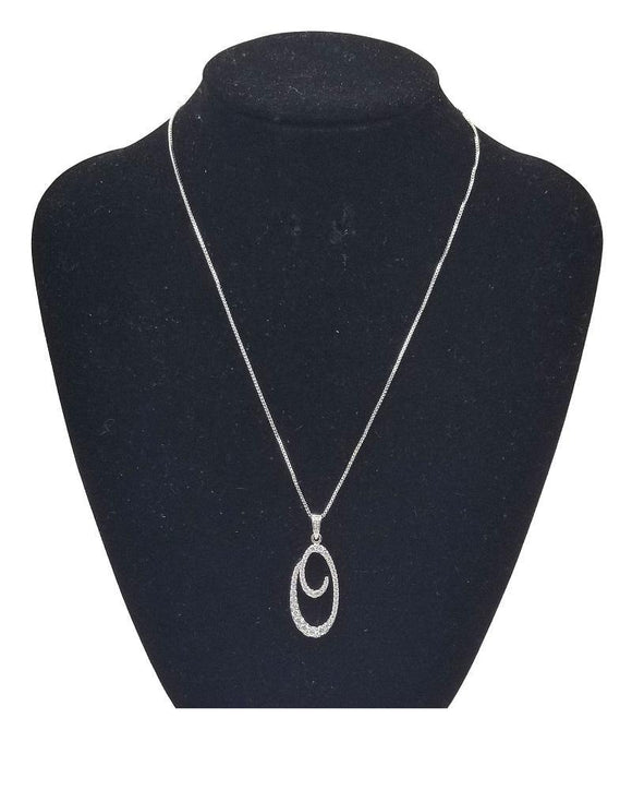 SILVER NECKLACE CURSIVE O PENDANT WITH CLEAR CUBIC ZIRCONIA ( 0025 0 3C )