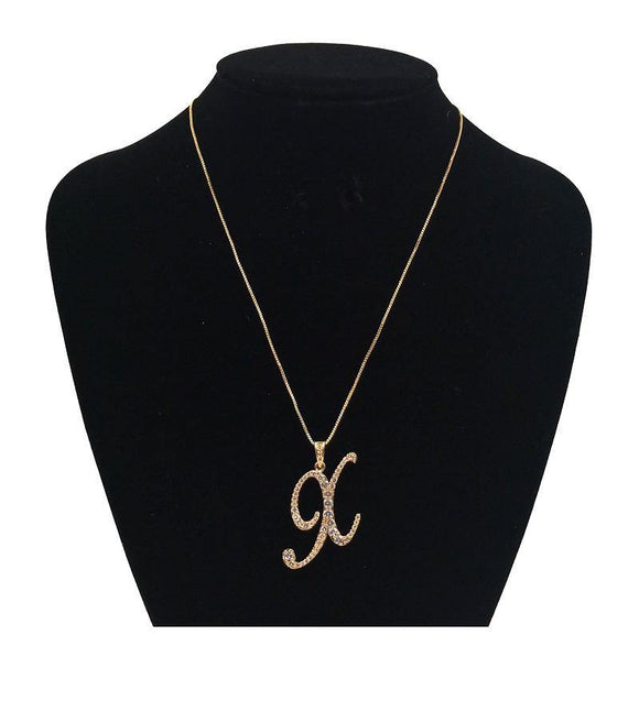 GOLD NECKLACE CURSIVE X PENDANT WITH CLEAR CUBIC ZIRCONIA ( 0025 X GD )
