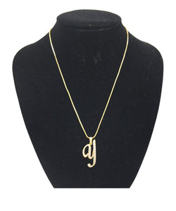 GOLD NECKLACE WITH CURSIVE Y PENDANT WITH CLEAR CUBIC ZIRCONIA ( 0025 )