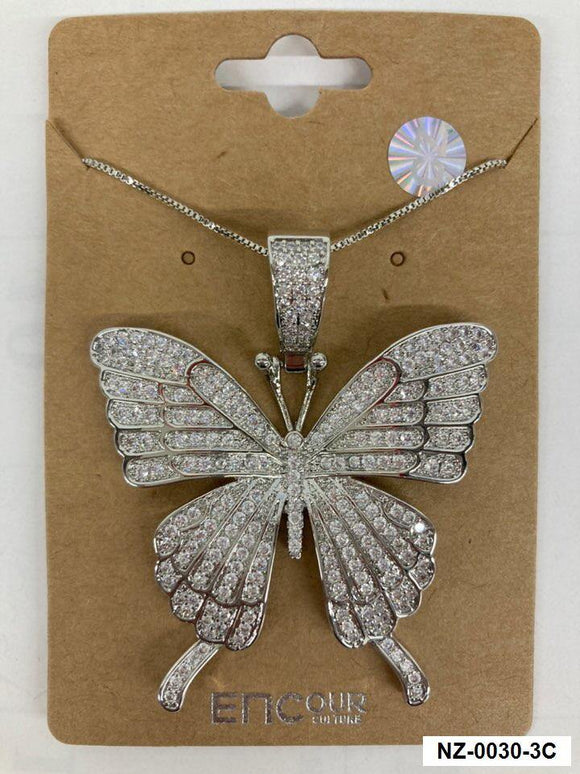 SILVER NECKLACE LARGE BUTTERFLY PENDNAT CZ CUBIC ZIRCONIA STONES ( 0030 3C )