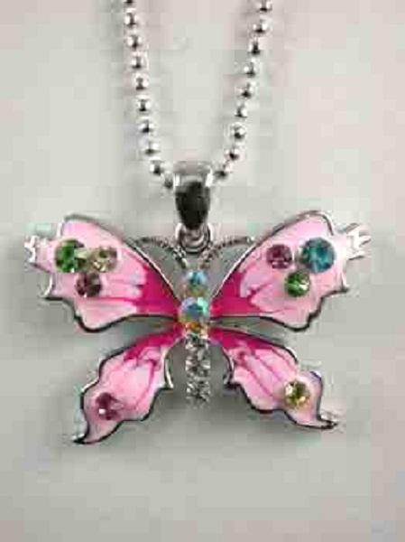 Rhodium Plated Silver Necklace with Pink Enamel and Multi Color Rhinestone Butterfly Charm