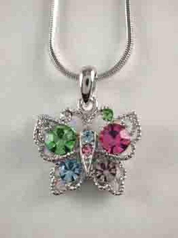 Rhodium Plated Silver Necklace with Multi Color Rhinestone Butterfly Charm ( 12803 )