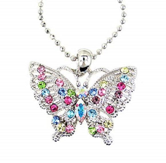 Rhodium Plated Multi Color Rhinestone Butterfly Charm Necklace ( 1896 )