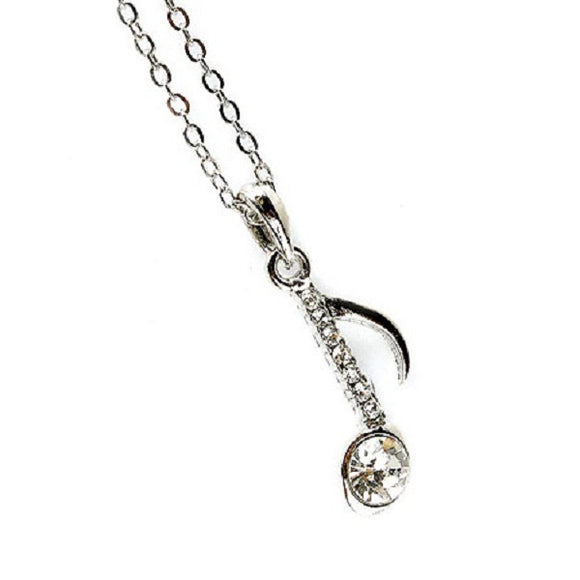 Silver Music Theme Music Note Charm Necklace ( 2113 )