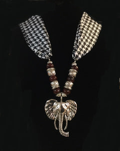 Houndstooth Fabric Material Necklace with Burgundy Red Beads and Silver Elephant Head