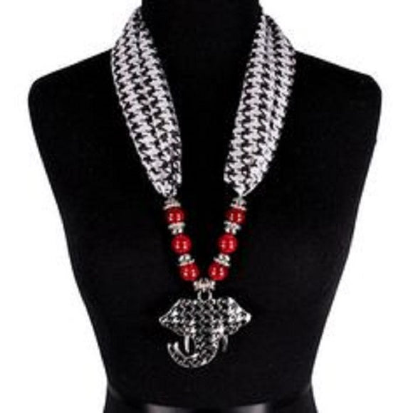 Houndstooth Scarf Necklace with Large Houndstooth Elephant Pendant and Burgundy Red Beads