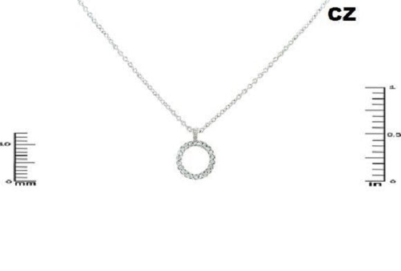 Open Cut Round Silver CZ Cubic Zirconia Charm Necklace ( 2427 )