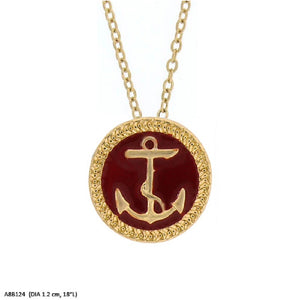 Red and Gold Anchor Charm Necklace ( 2770 )