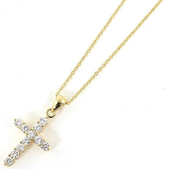 Gold Dipped Cubic Zirconia Cross Charm Necklace ( 3030 ) - Ohmyjewelry.com