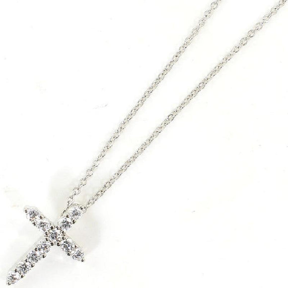 White Gold Dipped Cubic Zirconia Cross Charm Necklace ( 3030 RCR ) - Ohmyjewelry.com