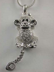 Rhodium Plated Silver Necklace with Clear Monkey Charm ( 3087 )