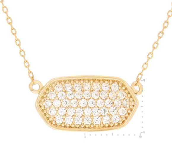 Gold Dipped Cubic Zirconia Charm Necklace ( 3102 )