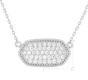 White Gold Dipped Cubic Zirconia Charm Necklace ( 3102 )