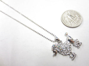 Clear and AB Rhinestone Poodle Dog Charm Necklace