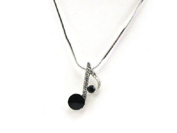 Rhodium Plated Silver Necklace with Black and Clear Rhinestone Music Note Charm