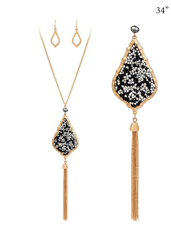 Gold Moroccan Design Teardrop Black and Silver Druzy Style Tassel Necklace with Earrings ( 7179 )