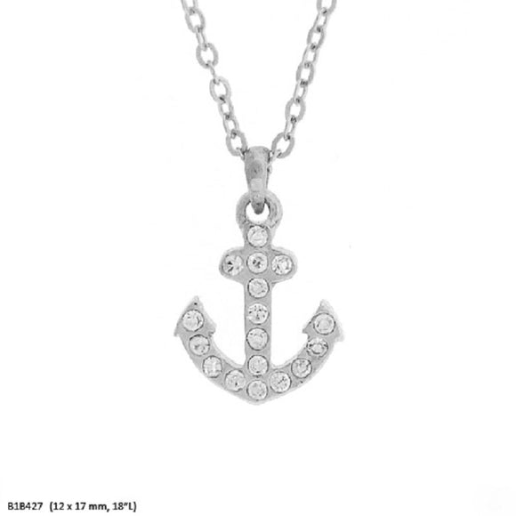 Silver Clear Rhinestone Anchor Charm Necklace ( 7337 )