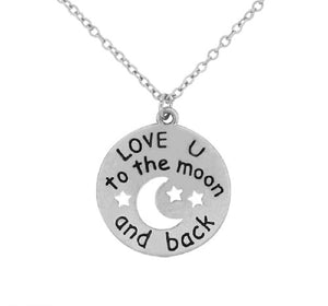 "Worn Silver ""love you to the moon and back"" Round Moon Charm Necklace ( 7464 )"