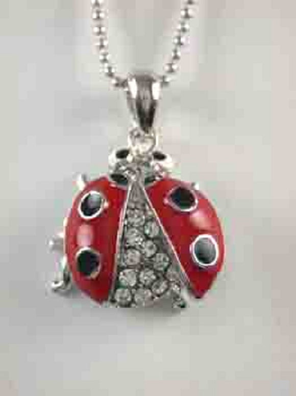 Rhodium Plated Necklace with Red Ladybug Charm ( 8074 )