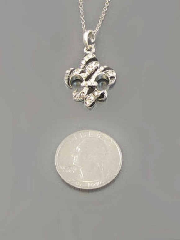 Rhodium Plated Necklace with Black and Clear Fleur de Lis Charm ( 8535 )