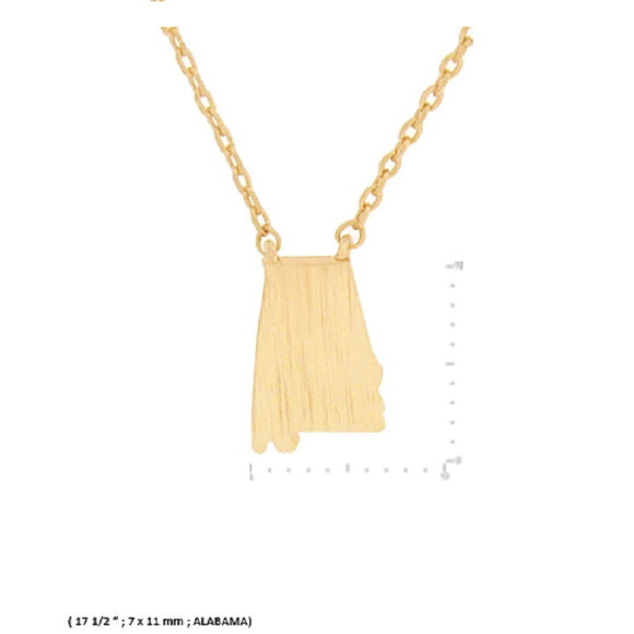 Brushed Gold Dipped Miniature Alabama State Jewelry Charm Necklace ( 9486 )