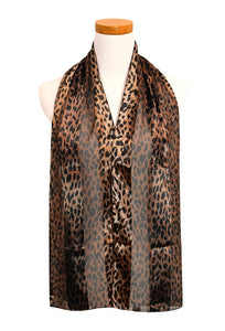 Brown Animal Print Satin Scarf ( 2032 )