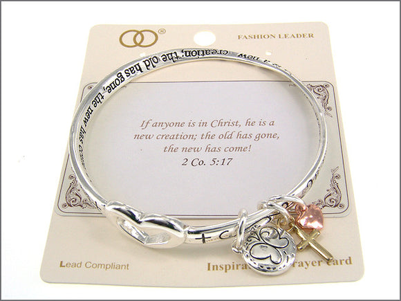 Inspirational Twisted Silver Charm Bangle with 2 Co. 5:17 Inscription ( 00582 )