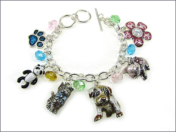 SILVER CHARM BRACELET WITH DANGLING MULTI COLOR ANIMAL CHARMS ( 02203 )