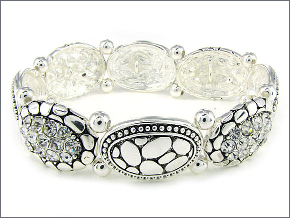 Silver Oval Stretch Bracelet with Clear Rhinestones