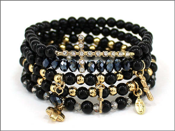 BLACK AND GOLD STRETCH BRACELET WITH BLACK RIBBON CROSSES ( 04242 )