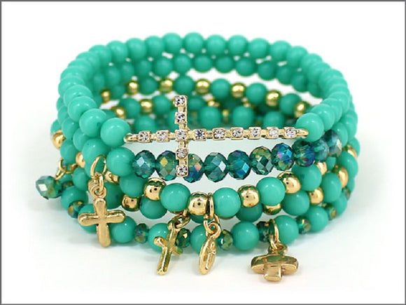 TURQUOISE STRETCH BRACELET WITH BLUE RIBBON CROSSES ( 04242 )