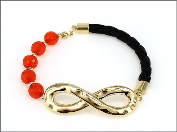 GOLD AND CORRAL BRACELET WITH INFINITY DESIGN ( 04264 )