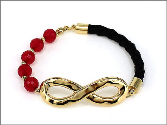 GOLD AND FUCHSIA BRACELET WITH INFINITY DESIGN ( 04264 )