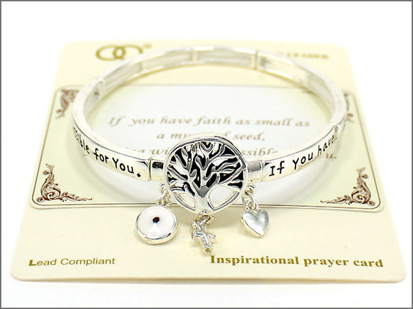Tree of Life Mustard Seed Inspirational Stretch Bracelet ( 04509 )