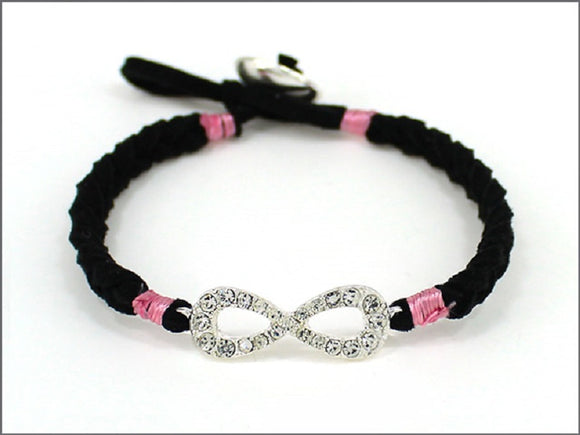BLACK AND PINK LEATHER BRACELET WITH INFINITY ( 04534 )