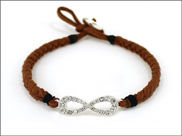 BROWN LEATHER BRACELET WITH INFINITY ( 04534 )
