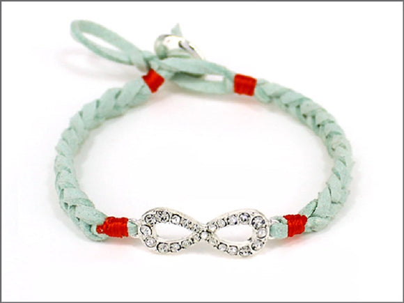 MINT LEATHER BRACELET WITH INFINITY ( 04534 )