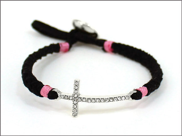 BLACK AND PINK LEATHER BRACELET WITH CROSS DESIGN ( 04536 )