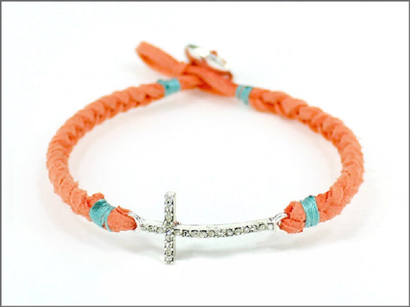 CORAL AND TURQUOISE LEATHER BRACELET WITH CROSS DESIGN ( 04536 )