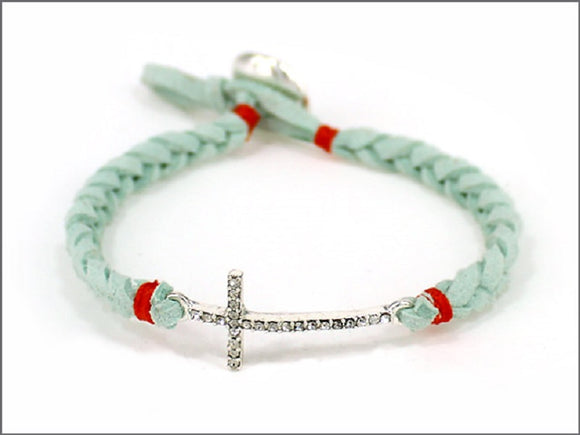 MINT LEATHER BRACELET WITH CROSS DESIGN ( 04536 )