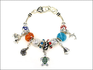 Silver and Multi Color Beaded Sea Life Theme Charm Bracelet