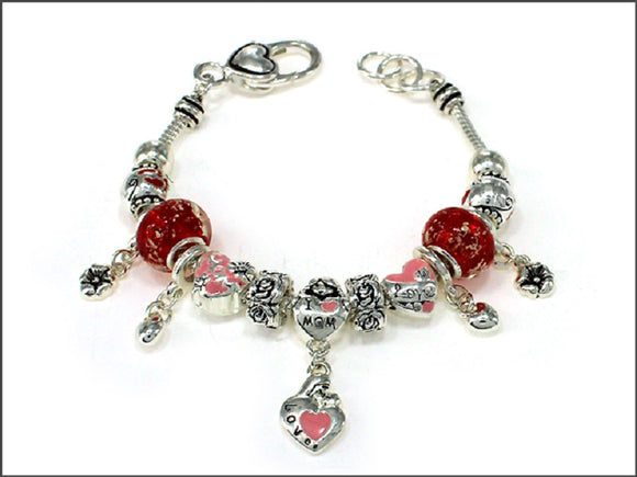 SILVER CHARM BRACELET RED HEART LOVE MOM CHARMS ( 05781 ASRED )